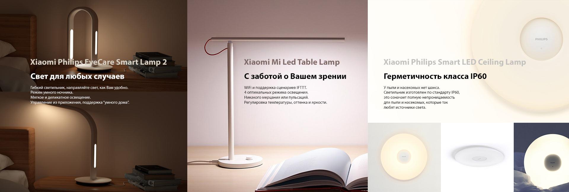 Лампочки и светильники Xiaomi